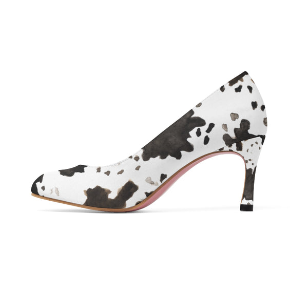 Milk Cow Print White Brown Black Designer 3 inch Durable Women's High Heels Shoes-Shoes-Heidi Kimura Art LLC