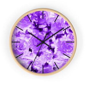 Purple Rose Floral Print 10 inch Diameter Modern Unique Wall Clock - Made in USA-Wall Clock-Wooden-Black-Heidi Kimura Art LLC