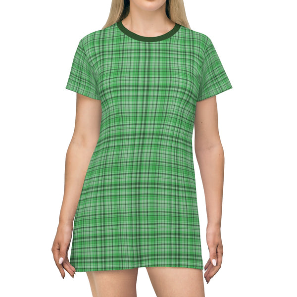 Green Plaid Tartan Print Designer Crew Neck T-shirt Dress-Made in USA-T-Shirt Dress-L-Heidi Kimura Art LLC