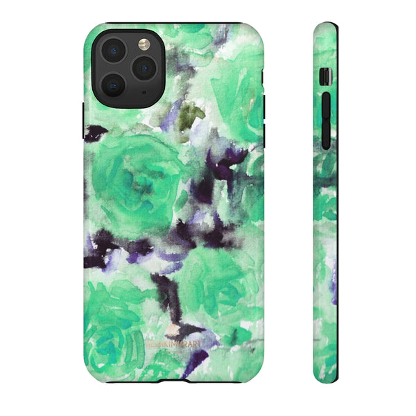 Turquoise Floral Print Tough Cases, Designer Phone Case-Made in USA-Phone Case-Printify-iPhone 11 Pro Max-Glossy-Heidi Kimura Art LLC
