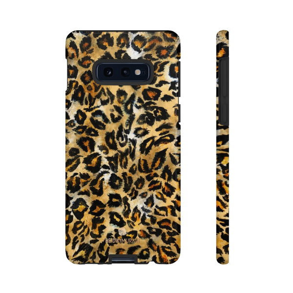 Brown Leopard Tough Cases, Animal Print Best Designer Phone Case-Made in USA-Phone Case-Printify-Samsung Galaxy S10E-Glossy-Heidi Kimura Art LLC