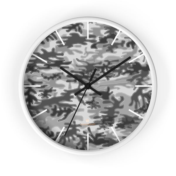 Gray Camo Camoflage Military Print Large Unique Indoor Wall Clocks- Made in USA-Home Decor-10 in-White-Black-Heidi Kimura Art LLC