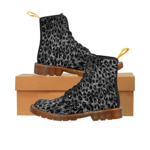 Black Leopard Women's Canvas Boots, Best Leopard Animal Print Winter Boots For Ladies-Shoes-Printify-Brown-US 9-Heidi Kimura Art LLCBlack Leopard Women's Canvas Boots, Best Leopard Animal Print Designer Women's Winter Lace-up Toe Cap Boots Shoes For Women (US Size 6.5-11)