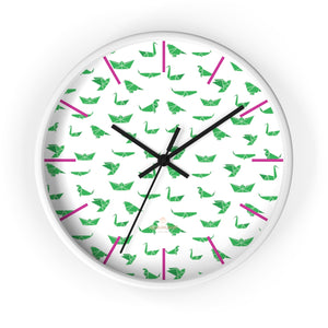 "White Green Japanese Crane Print Large Unique 10"" Diameter Wall Clocks- Made in USA-Wall Clock-10 in-White-Black-Heidi Kimura Art LLC"