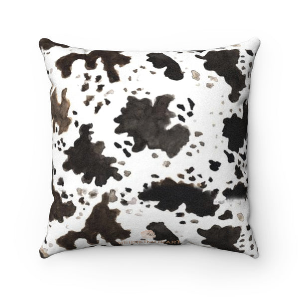 Cow Print Brown White Black 100% Double Sided Faux Suede Square Pillow Case-Pillow Case-Heidi Kimura Art LLC