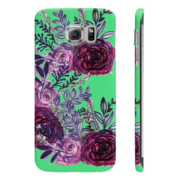 Lime Green Slim iPhone/ Samsung Galaxy Floral Purple Rose Phone Case, Made in UK-Phone Case-Samsung Galaxy S6 Slim-Glossy-Heidi Kimura Art LLC
