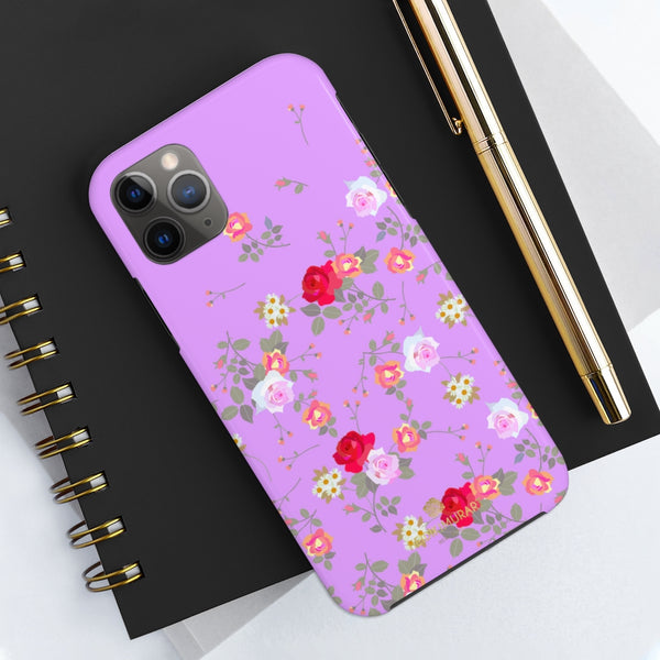 Pink Floral Rose Print Designer Case Mate Tough Phone Cases-Made in USA - Heidikimurart Limited