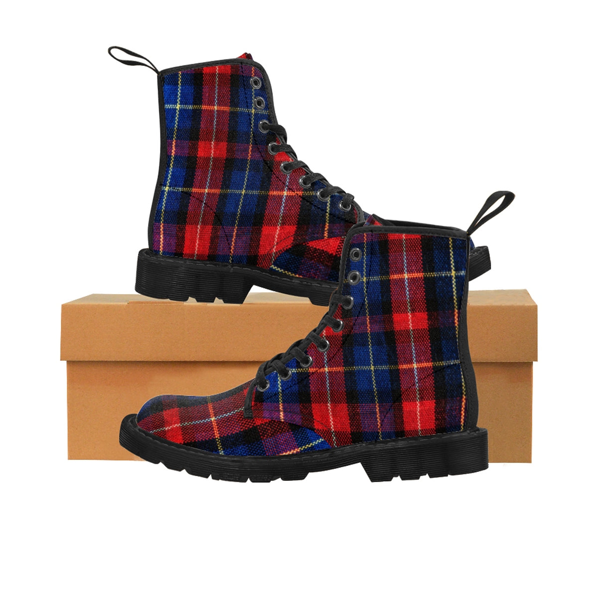 Comfortable Red Plaid Tartan Print Fashion Men's Winter Boots (US Size: 7-10.5)-Men's Boots-Black-US 9-Heidi Kimura Art LLC Red Plaid Men's Boots, Comfortable Red Plaid Tartan Print Fashion Men's Winter Boots, Anti-Rain + Water (US Size: 7-10.5)