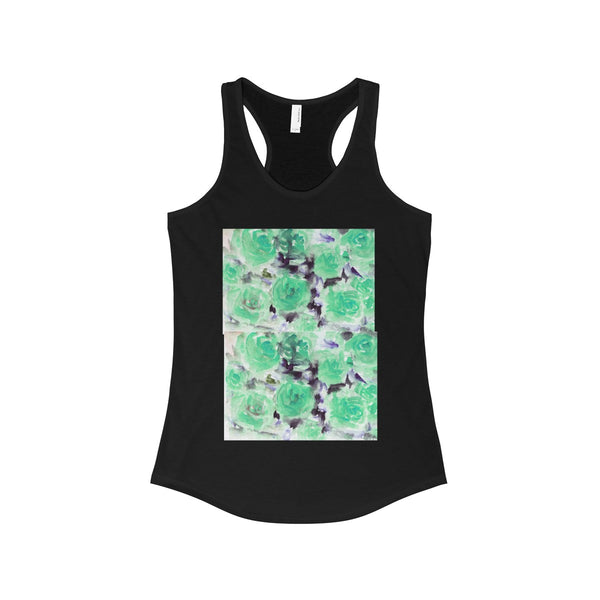 Nobusuke Ice Blue Rose Floral Women's Ideal Racerback Tank -Made in the U.S.A. (US Size: XS-2XL)-Tank Top-Solid Black-XS-Heidi Kimura Art LLC