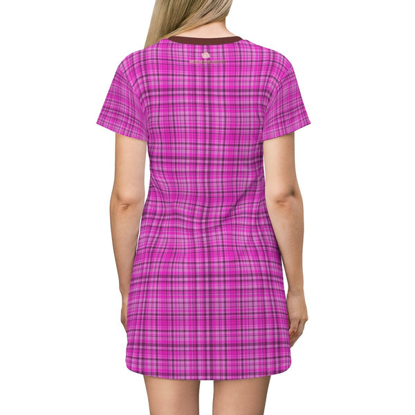 Pink Plaid Tartan Print Designer Crew Neck Long T-shirt Dress-Made in USA-T-Shirt Dress-Heidi Kimura Art LLC