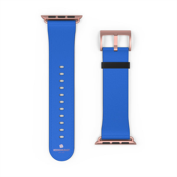 Blue Solid Color 38mm/42mm Watch Band Strap For Apple Watches- Made in USA-Watch Band-Heidi Kimura Art LLC