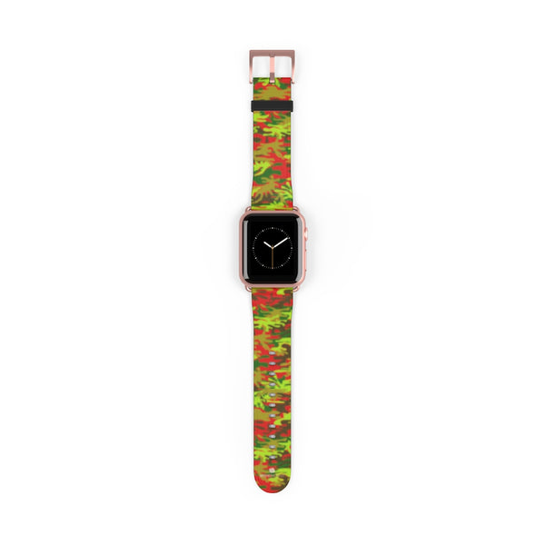 Red Green Red Camo Print 38mm/42mm Watch Band For Apple Watches- Made in USA-Watch Band-38 mm-Rose Gold Matte-Heidi Kimura Art LLC