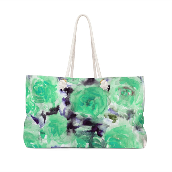 "Dreamy Light Blue Rose Floral Flower Print 24""x13"" Large Weekender Bag-Made in USA-Weekender Bag-24x13-Heidi Kimura Art LLC"