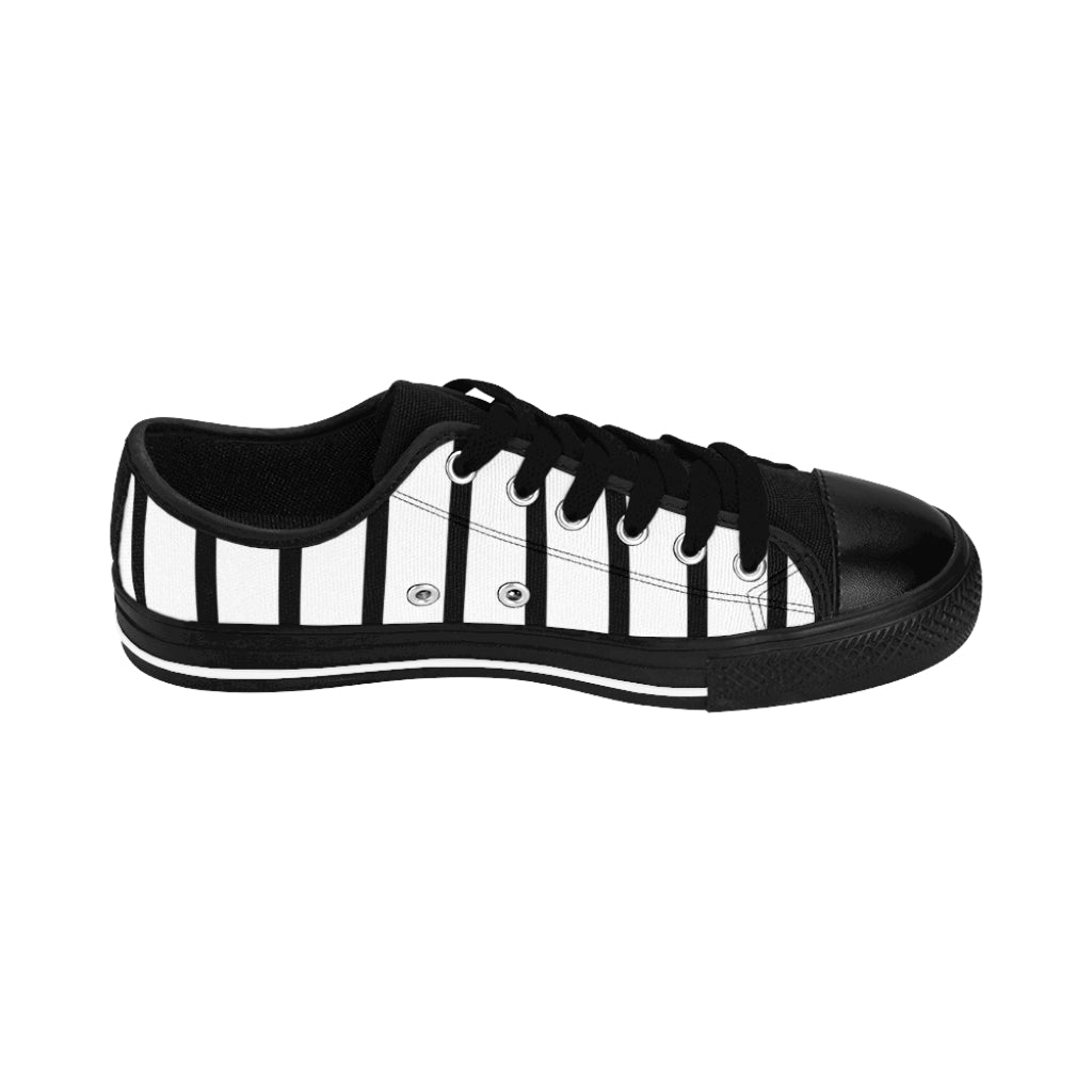 Black Waves Print Men's Sneakers, Geometric Wavy Designer Fashion Low Top Sneakers For Men https://heidikimurart.com/products/black-waves-print-mens-sneakers