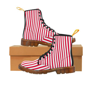 Red Striped Women's Canvas Boots, Best Modern White Red Stripes Winter Boots For Ladies-Shoes-Printify-Brown-US 9-Heidi Kimura Art LLC Red Striped Women's Canvas Boots, Vertically White Striped Print Designer Women's Winter Lace-up Toe Cap Boots Shoes For Women   (US Size 6.5-11)