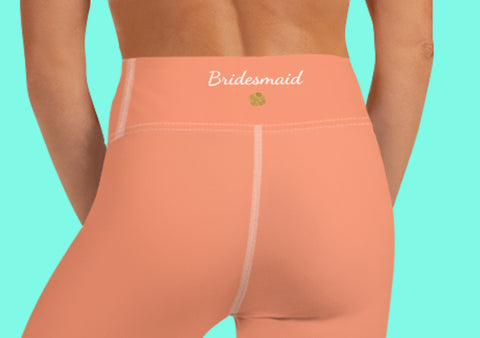 Peach Pink Bridesmaid Text Designer Women's Yoga Capri Leggings- Made in USA-Capri Yoga Pants-Heidi Kimura Art LLC