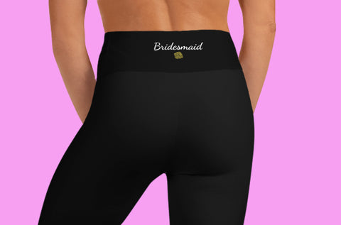Bridesmaid Graphic Print Black Women's Yoga Capri Leggings Pants, Made in USA/ EU-Capri Yoga Pants-Heidi Kimura Art LLC