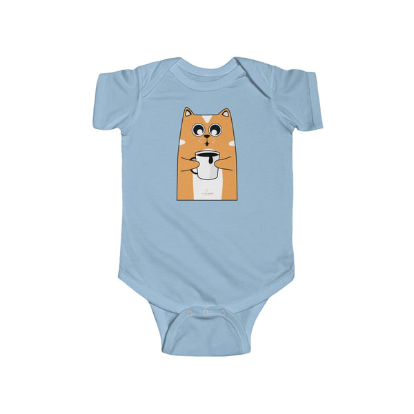 Orange Cat Loves Coffee Infant Fine Jersey Regular Fit Unisex Bodysuit - Made in UK-Infant Short Sleeve Bodysuit-Light Blue-NB-Heidi Kimura Art LLC