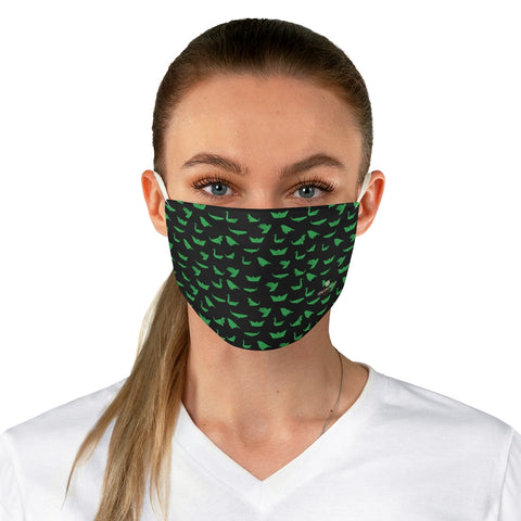 "Japanese Style Crane Face Mask, Black Green Japanese Bird Style Designer Fashion Face Mask For Men/ Women, Designer Premium Quality Modern Polyester Fashion 7.25"" x 4.63"" Fabric Non-Medical Reusable Washable Chic One-Size Face Mask With 2 Layers For Adults With Elastic Loops-Made in USA"