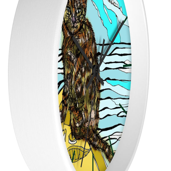 Boat Cat Print Wall Clock, Brown Orange Cat Print 10 in. Dia. Indoor Clock- Made in USA-Wall Clock-Heidi Kimura Art LLC