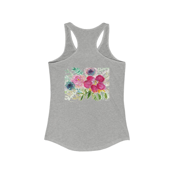 Pastel Rose Floral Print Women's Ideal Racerback Tank - Made in U.S.A. (US Size: XS-2XL)-Tank Top-Heidi Kimura Art LLC Pastel Rose Flower Top, Pastel Rose Bouquet Floral Print Women's Ideal Racerback Tank Top - Made in U.S.A. (US Size: XS-2XL)