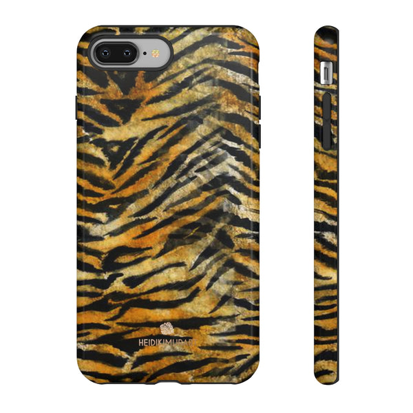 Orange Tiger Striped Phone Case, Animal Print Tough Cases, Designer Phone Case-Made in USA-Phone Case-Printify-iPhone 8 Plus-Glossy-Heidi Kimura Art LLC