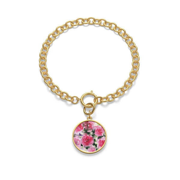 Uta Singing Rose Floral Pink Chunky Chain Fashion Yoga Bracelet - Made in USA
