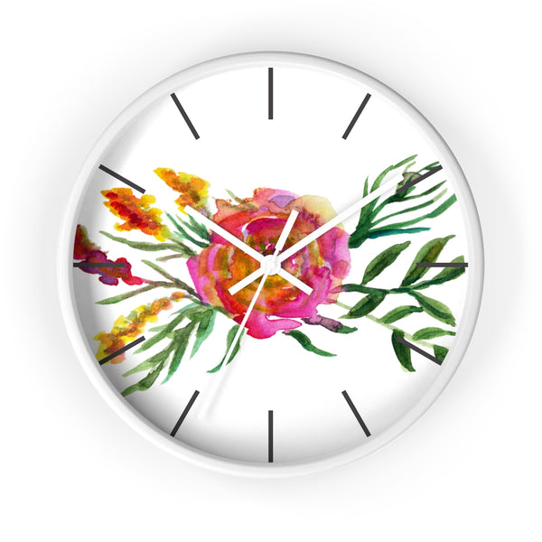 Pink Rose Watercolor Floral Print 10 inch Diameter Flower Wall Clock - Made in USA-Wall Clock-White-White-Heidi Kimura Art LLC Pink Floral Wall Clock, Pink Rose Watercolor Floral Print 10 inch Diameter Flower Wall Clock - Made in USA