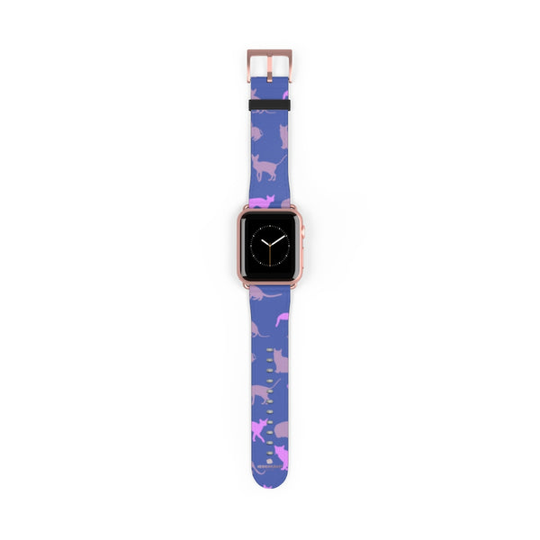 Purple Pink Cats Print 38mm/42mm Premium Watch Band For Apple Watch- Made in USA-Watch Band-38 mm-Rose Gold Matte-Heidi Kimura Art LLC