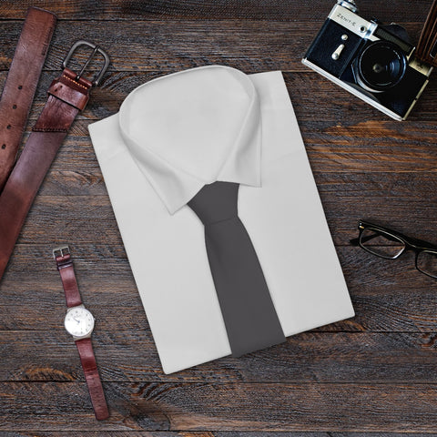 Charcoal Classic Gray Solid Color Printed Soft Satin Finish Necktie Tie - Made in USA-Necktie-One Size-Heidi Kimura Art LLC