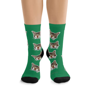 Dark Green Cat Print Socks, Designer Calico Cat 1-Size Knit Premium Socks- Made in USA-Socks-One size-Heidi Kimura Art LLC
