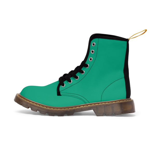 Turquoise Blue Classic Solid Color Designer Women's Winter Lace-up Toe Cap Boots-Women's Boots-Brown-US 10-Heidi Kimura Art LLC