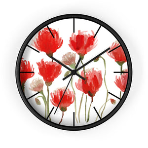 Orange Red Tulips Floral Print 10 inch Diameter Flower Large Wall Clock- Made in USA-Wall Clock-10 in-Black-Black-Heidi Kimura Art LLC