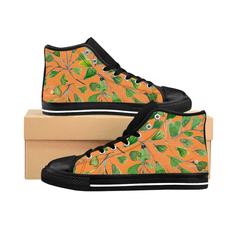 Orange Green Maidenhair Men's Tennis Shoes, Tropical Print Designer Best High-top Sneakers For Men-Shoes-Printify-Heidi Kimura Art LLC Orange Fern Men's High-Top Sneakers, Green Cute Maidenhair Leaf Print Designer Men's High-top Sneakers Running Tennis Shoes, Fern Leaves Designer High Tops, Mens Floral Shoes, Tropical Leaf Print Sneakers (US Size: 6-14)
