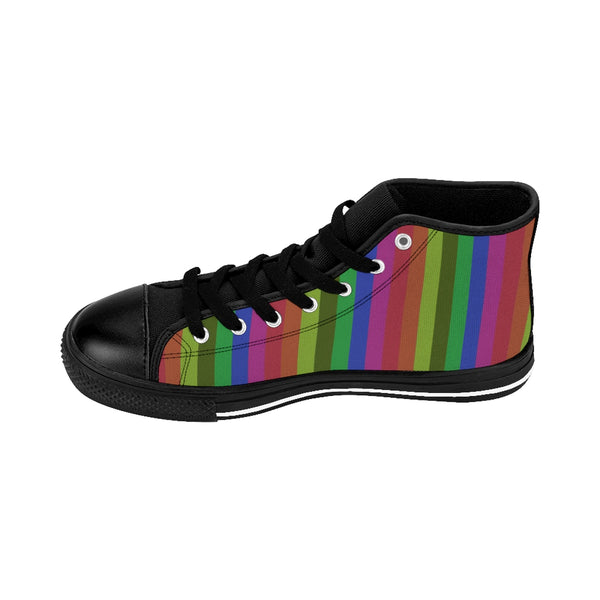 Rainbow Stripe Gay Pride Women's High-top Sneakers Running Shoes (US Size: 6-12)-Women's High Top Sneakers-Heidi Kimura Art LLCRainbow Stripe Women's Sneakers, Modern Classic Designer Vintage Style Premium Rainbow Stripe Gay Pride Women's High-top Sneakers Running Shoes (US Size: 6-12)