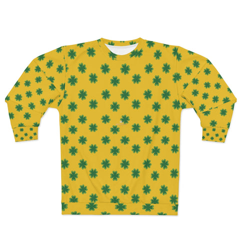 Yellow St. Patrick's Day Green Clover Print Unisex Couple's Designer Sweatshirt- Made in USA-Unisex Sweatshirt-2XL-Heidi Kimura Art LLC