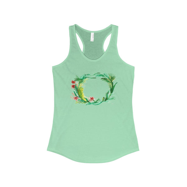 Floral Wreath Designer Floral Women's Ideal Racerback Tank - Made in U.S.A.-Tank Top-Solid Mint-XS-Heidi Kimura Art LLC