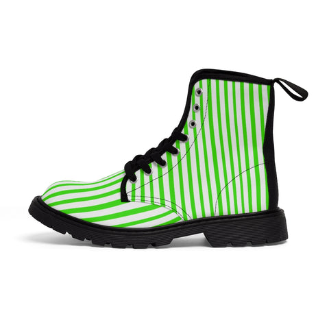 Green Striped Women's Canvas Boots, Modern Vertically Stripes White Green Ladies' Winter Boots-Shoes-Printify-Heidi Kimura Art LLC Green Striped Women's Canvas Boots, Vertically White Striped Print Designer Women's Winter Lace-up Toe Cap Boots Shoes For Women   (US Size 6.5-11)