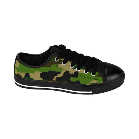 Military Army Green Camouflage Print Low Top Women's Running Sneakers Shoes-Women's Low Top Sneakers-Heidi Kimura Art LLCGreen Camo Ladies Tennis Shoes, Military Army Green Camouflage Print Low Top Women's Running Sneakers Shoes (US Size: 6-12)