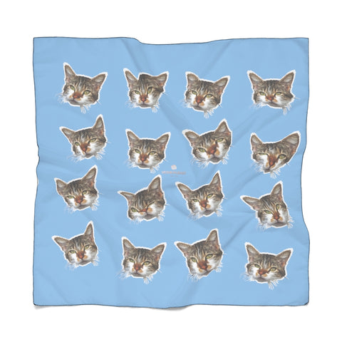 Light Blue Cat Print Poly Scarf, Cute Fashion Accessories For Men/Women- Made in USA-Accessories-Printify-Poly Chiffon-25 x 25 in-Heidi Kimura Art LLC