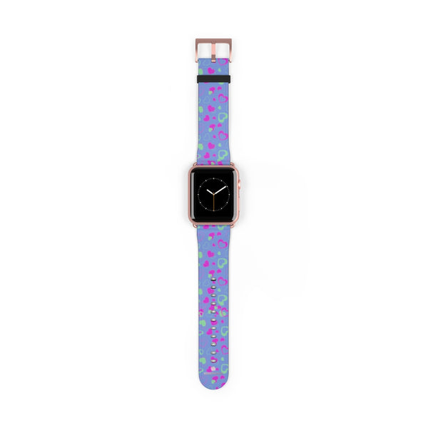 Light Violet Purple Pink Hearts 38mm/42mm Watch Band For Apple Watch- Made in USA-Watch Band-42 mm-Rose Gold Matte-Heidi Kimura Art LLC