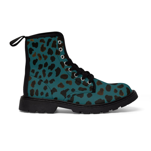 Teal Blue Cheetah Men's Boots, Leopard Animal Print Fashion Best Combat Work Hunting Boots For Men, Anti Heat + Moisture Designer Men's Winter Boots Hiking Shoes (US Size: 7-10.5)