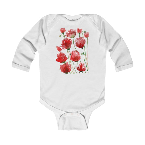 Floral Red Poppy Flower Print Infant Long Sleeve Bodysuit - Made in UK(UK Size: 6M-24M)-Kids clothes-White-12M-Heidi Kimura Art LLC