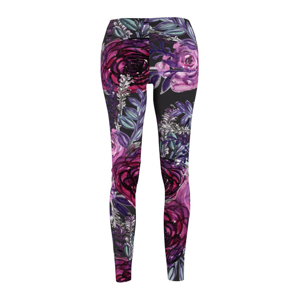 Grey Floral Print Women's Casual Leggings, Floral Dressy Tights For Women - Made in USA-Casual Leggings-Heidi Kimura Art LLC