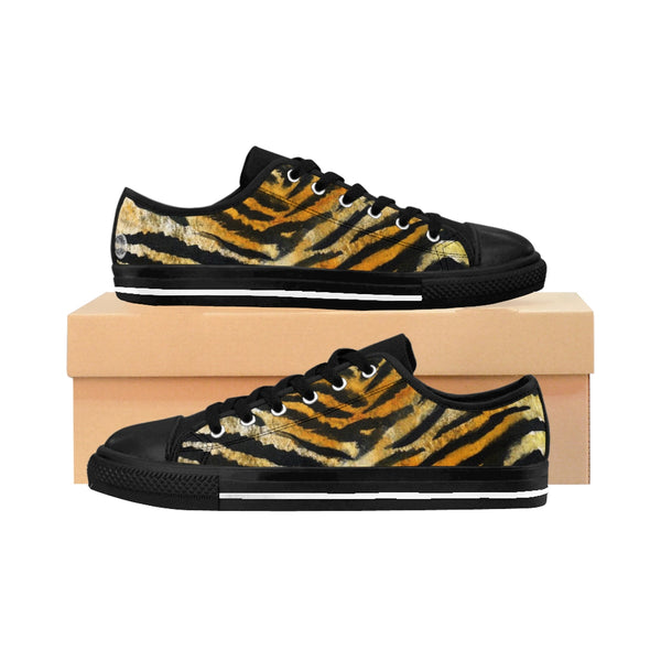 Brown Tiger Striped Men's Low Tops, Animal Print Designer Men's Low Top Sneakers Shoes-Men's Low Top Sneakers-US 9-Heidi Kimura Art LLC