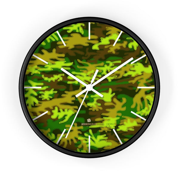 Bright Green Camo Camouflage Military Army Print Large Unique Wall Clocks- Made in USA-Wall Clock-10 in-Black-White-Heidi Kimura Art LLC