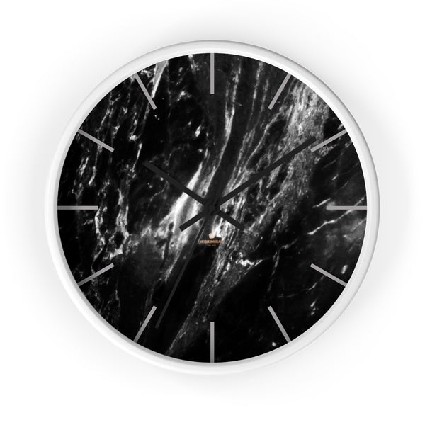 Elegant Black & White Marble Print Art Large Indoor Designer Wall Clock-Made in USA-Wall Clock-10 in-White-Black-Heidi Kimura Art LLC