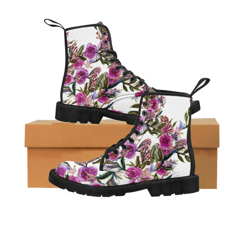 Vintage Style Pink Rose Floral Print Designer Women's Winter Lace-up Toe Cap Boots-Women's Boots-Black-US 9-Heidi Kimura Art LLC Pink Rose Women's Boots, Vintage Style Pink Rose Floral Print Designer Women's Winter Lace-up Toe Cap Boots (Size: 6.5-11)