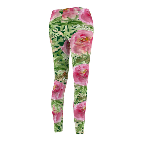 Dark Green Pink Rose Floral Print Women's Casual Leggings - Made in USA-Casual Leggings-Heidi Kimura Art LLC