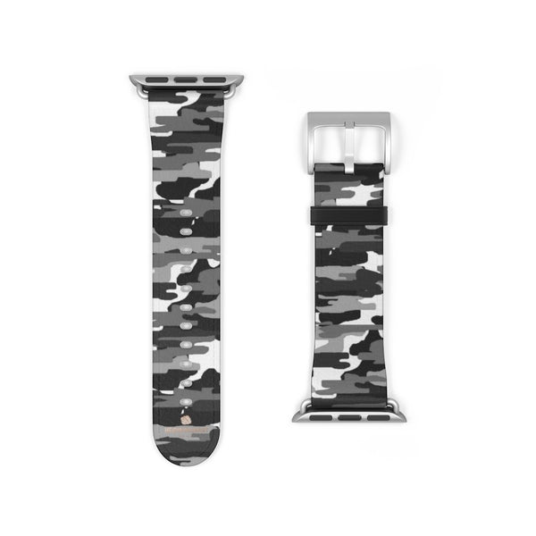 Gray & White Classic Camo Print 38mm/42mm Watch Band For Apple Watch- Made in USA-Watch Band-Heidi Kimura Art LLC